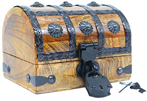 Pirate Treasure Chest with Iron Lock Skeleton Key Small Pirate 6.5 x 4.5 x 4.5 Decorative Box by Well Pack Box