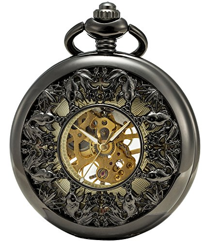 SEWOR Grace Koi Skeleton Pocket Watch Black Mechanical Hand Wind with Leather Gift Box (Black) by SEWOR (Image #4)'