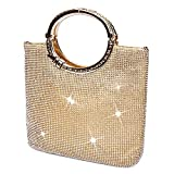 P&R Luxury Full Rhinestones Women's Fashion Evening Clutch Bag Party Prom Wedding Purse - Best Gife For Women (Gold)