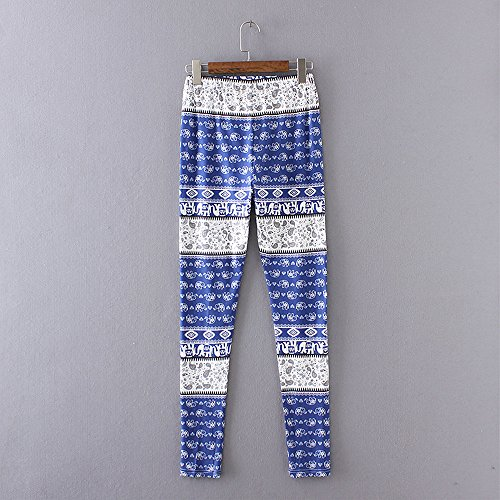 Femmes Court Slim Pantalon de 2 imprim Bleu Lady Leggings Casual Knickerbockers Skinny gomtrique Stretch Pantalon Combinaisons Collants Jeans Jegging MORCHAN 5nZRqwCfvf