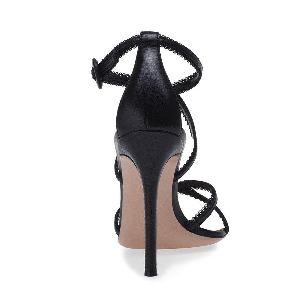 LUCKY CLOVER-A Sandaletten-Frauen-Spitze-PU-Bügel Pumpen-Fersen-Kleid-Partei-Tanzen-Königin-Mädchen-Damen, Riemchen-Stöckelschuh-Absatzschuhe Pumpen-Fersen-Kleid-Partei-Tanzen-Königin-Mädchen-Damen, Sandaletten-Frauen-Spitze-PU-Bügel 2 Farbe, EU46,schwarz,EU34 - 73cdbb