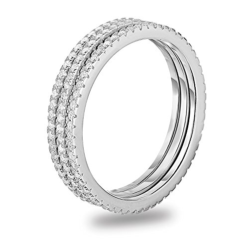 White Gold Eternity Prong (Rhodium-Plated Sterling Silver Cubic Zirconia 3pcs Stackable Eternity Wedding Band Ring, Size 8)