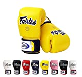 Fairtex Muay Thai Boxing Gloves BGV1 Size : 10 12 14 16 oz. Training sparring All purpose gloves for kick boxing MMA K1 (Solid Yellow, 16 oz)