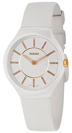 d4623d0f9 Image Unavailable. Image not available for. Color: Rado True Thinline White  Ceramic Womens Watch Quartz Rubber Strap R27958709