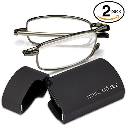 Marc De Rez Foldable Reading Glasses +2.50-2 Pack - Mini Flip Top Cases - Gunmetal Grey Folding Prescription Readers For Men and Women by Marc De Rez (Image #1)