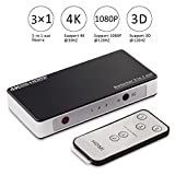 HDMI Switch 3 Port, 4K HDMI Switches box IR Wireless Remote Control and AC Power Adapter, HDMI Video Switcher Hub with supports Full HD 1080P 3D