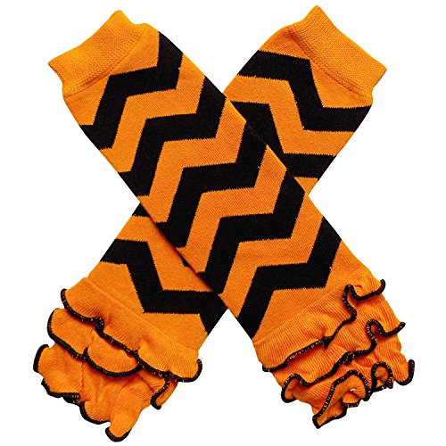 (Halloween Costume Spooky Styles Holiday Leg Warmers - One Size - Baby, Toddler, Girl (Ruffle Chevron Orange &)
