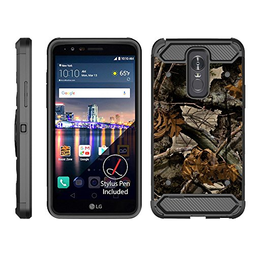 TurtleArmor | LG Stylo 3 Case | LG Stylus 3 Case | Stylo 3 Plus Case [Armor Pro] Full Body Protection Armor Hybrid Kickstand Rugged Cover Holster Belt Clip Case - Tree Leaves Camouflage (Tree Triple Straight)