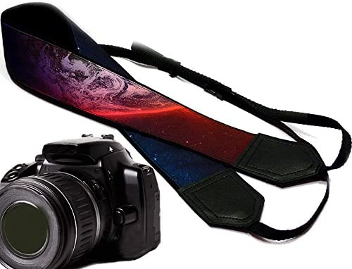 Light Weight and Well Padded Camera Strap Cosmos with Planet Camera Strap Modern Black DSLR//SLR Camera Strap Code 00126 Durable Galaxy Camera Strap