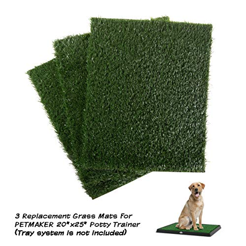 PETMAKER Replacement Artificial Grass Pee Pads – Set of 3 Pads for Puppy Potty Trainer – Dog Housebreaking Supplies for Puppies or Large Dogs