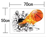U-Shark 3D Self-adhesive Removable Basketball Break Through the Wall Vinyl Wall Stickers /Murals Art Decals Decorator (Flying Kungfu Fire Basketball (50 X 70cm))