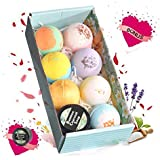 Bath Bombs - 7 Color and Fragrance & A Bamboo Charcoal Soap, Perfect for Bubble & Spa Bath. Handmade Birthday Mothers' Day Gifts Idea for Her/Him, Wife, Girlfriend (2.8oz8pcs)