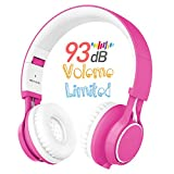 HD30 Kids Headphones with Microphone Volume Limited for Boys Girls Compatible with iPhone Smartphone iPad Tablet Laptop (Pink)