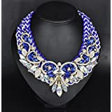 style12 blue - Women Fashion Pendant Crystal Flower Choker Chunky Statement Chain Bib Necklace