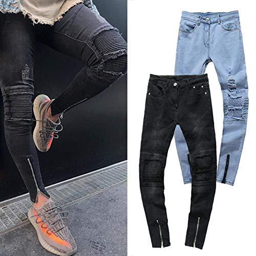 Strappati Moda Uomo Elasticizzati Abbigliamento Skinny Jeans Da Vintage Pantaloni Nero Casual Distrutti Denim xawtq4z