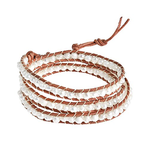 AeraVida Natural Beauty Cultured Freshwater White Pearl Triple Nude Leather Wrap Bracelet ()