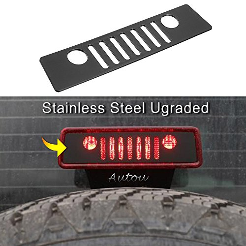 Autou Brake Light Cover Black for 2007-2017 Jeep Wrangler JK JKU Unlimited Accessories