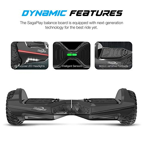 Sagaplay Self Balancing Scooter Hover Self-Balance Board w/ Wireless Speakers - UL2272 Certified, 220W Dual-Motor, 6.5'' Electric Powered Board Hover [EL-ES11, Black (WT42)]