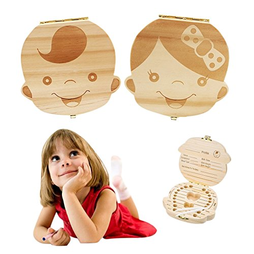 Gift Box Kids (Baby Tooth Box by NASHRIO - Wooden Kids Keepsake Organizer Gift for Baby Teeth, Cute Children Tooth Container with Tweezers to Keep the Childwood Memory (Gril))
