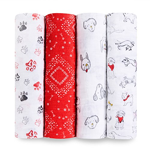 aden + anais Calssic Swaddle Baby Blanket, 100% Cotton Mulin, Large 47 X47 inch, 4 Pack, Limited Edition Year of The Dog