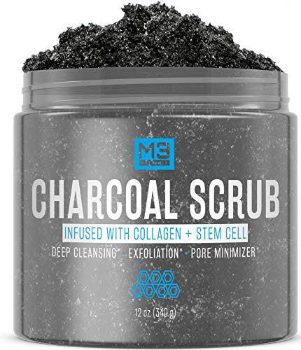 M3 Naturals Activated Charcoal Scrub Infused with Collagen and Stem Cell – Natural Exfoliating Body and Face Polish for…