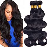 Brazilian Virgin Hair Body Wave 24 26 28 Inch Unprocessed Human Hair Weave Bundles Pack of 3 Wet and Wavy Human Hair Extensions Natural Color
