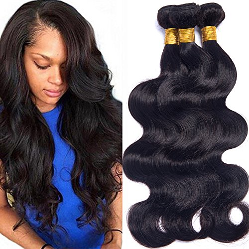 Brazilian Virgin Hair Body Wave 24 26 28 Inch Unprocessed Human Hair Weave Bundles Pack of 3 Wet and Wavy Human Hair Extensions Natural Color by IUPin