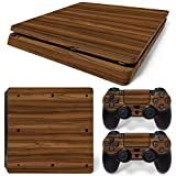 MODFREAKZ™ Console and Controller Vinyl Skin Set - Dark Joined Wood for PS4 Slim