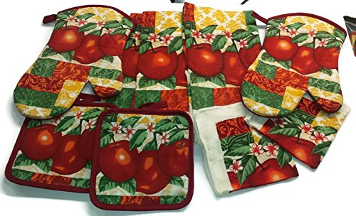 Garden Apple Bundle Package Oven Mitts (2) Pot Holder (2) Kitchen Towels (3) Dish Cloths (2) (#4426) - Apple Pot Holders