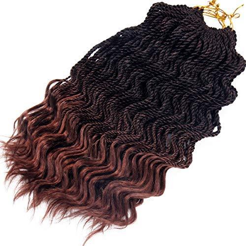 Wavy Senegalese Twist Crochet Braids 6packs/lot 14Inch 35Strands/Pack Synthetic Kanekalon Crochet Hair Curly Havana Mambo Twist Braiding Hair (14 Inch, T1B/30#) (Best Brand Of Kanekalon Hair For Senegalese Twists)