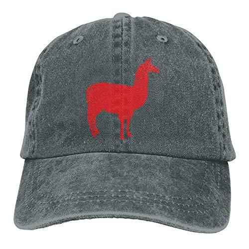 Daqinghjxg Mens/Womens Red Llama Distressed Cotton Denim Baseball Cap Adjustable - Quiet Life Hat