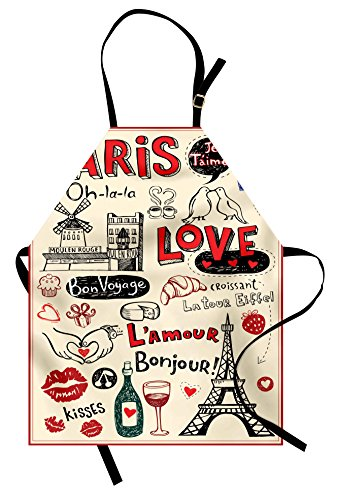 Paris Apron by Lunarable, Love Doodles Coffee Wine Glass Croissant Cheese Cupcake Kiss Sketchy Art, Unisex Kitchen Bib Apron with Adjustable Neck for Cooking Baking Gardening, Beige Scarlet (Paris Kiss)