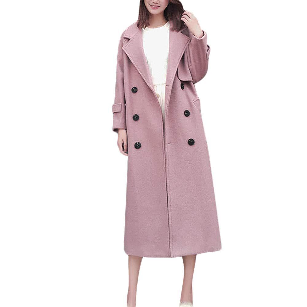 Inverlee Womens Winter Lapel Wool Coat Trench Jacket Long Sleeve Overcoat Outwear
