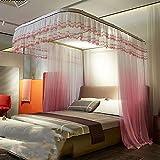 Mosquito Net Bed Canopy U-raill Type Pull Three-Door Thick Stainless Steel Bracket Alloy Elbow Net Tent Indoor Decorative (Gradient),Pink,150200CM