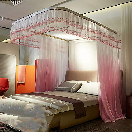 Mosquito Net Bed Canopy U-raill Type Pull Three-Door Thick Stainless Steel Bracket Alloy Elbow Net Tent Indoor Decorative (Gradient),Pink,150200CM by LINLIN MOSQUITO NET (Image #5)