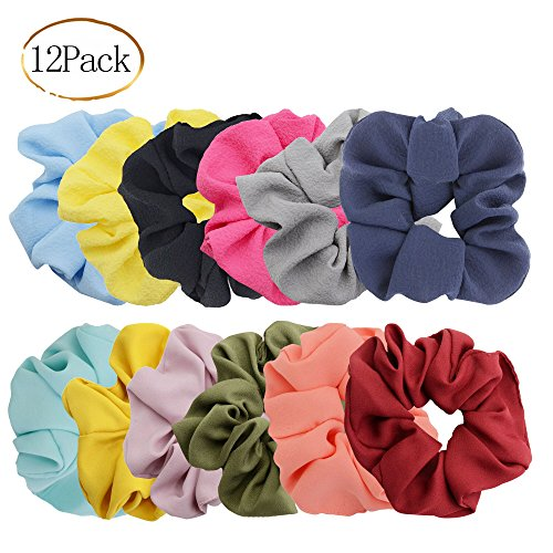 (Chloven 12 Pack Hair Elastics Scrunchies Chiffon Hair Scrunchies Hair Accessories Seersucker Hair Bands Bobbles Hair Ties, Solid Color)