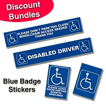 Disabled  Blue Badge Window Stickers Bundle Of  Amazoncouk - Window stickers for cars uk