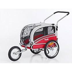 Sepnine & Leonpets 2 in1 Medium pet Dog Bike Trailer Bicycle Carrier and Stroller Jogger 20303 (red/Grey)