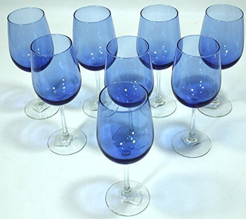 Cobalt/Royal Blue, Clear Stem, Two-Tone Wine Glasses - Set of 4