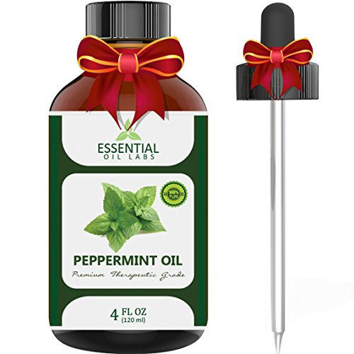 (Peppermint Oil - Highest Quality Therapeutic Grade Backed by Medical Research - Largest 4 Oz Bottle with Premium Dropper, Essential Oil Labs)