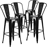 "Cheap Flash Furniture 4 Pk. 30"" High Black Metal Indoor-Outdoor Barstool with Back"