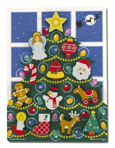 Melissa & Doug Holiday Christmas Tree Wooden Chunky Puzzle (13 pcs)