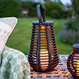 Lights4fun Tall Rattan Solar Powered LED Garden Lantern b