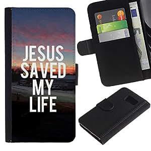 EuroCase - Samsung Galaxy S6 SM-G920 - JESUS SAVED MY LIFE - Cuero PU Delgado caso cubierta Shell Armor Funda Case Cover