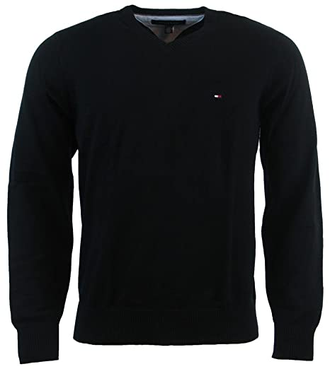 Tommy Hilfiger Mens Long Sleeve Pacific V-Neck Pullover Sweater - XS - Black ef1722f55d