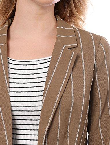 righe marrone con aperto zeppa a K Allegra Blazer senza davanti maniche risvolto lunghe Lady a 4wPxXq6