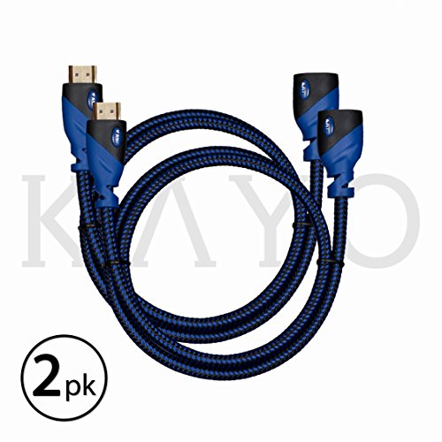HDMI Extender - Male to Female Extension Cable - 3 Feet (2-Pack) High-Speed HDMI Cable (2.0b) 4k Resolution - Supports: 3D, HD, 2160p, Ethernet, Audio Return (Latest Version) HDCP 2.2 Compliant - 3ft