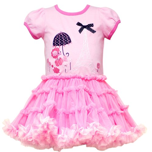 Rare Editions Baby 3M-9M Pink Paris Poodle Puppy Dog Applique Mesh Tutu Dress