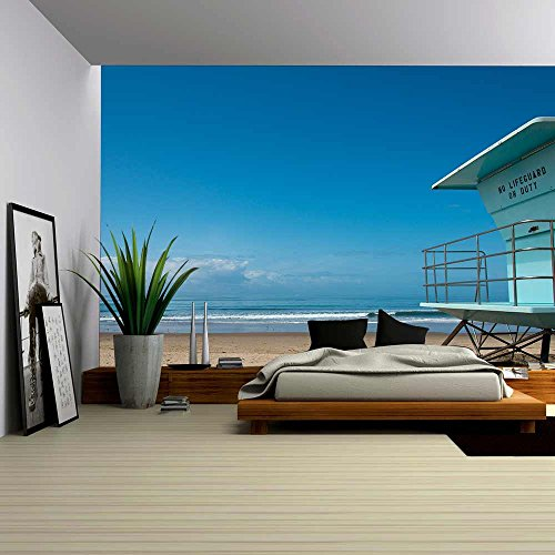 Lifeguard Hut (wall26 - Lifeguard Hut at Beach in Southern California - Removable Wall Mural | Self-adhesive Large Wallpaper - 66x96 inches)