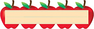 Hygloss Die-Cut Name Plate - Great Teaching Tool - Perfect for Labeling in Classroom & Other Uses - Red Apples - 9.5 x 3 inches - 30 Pk